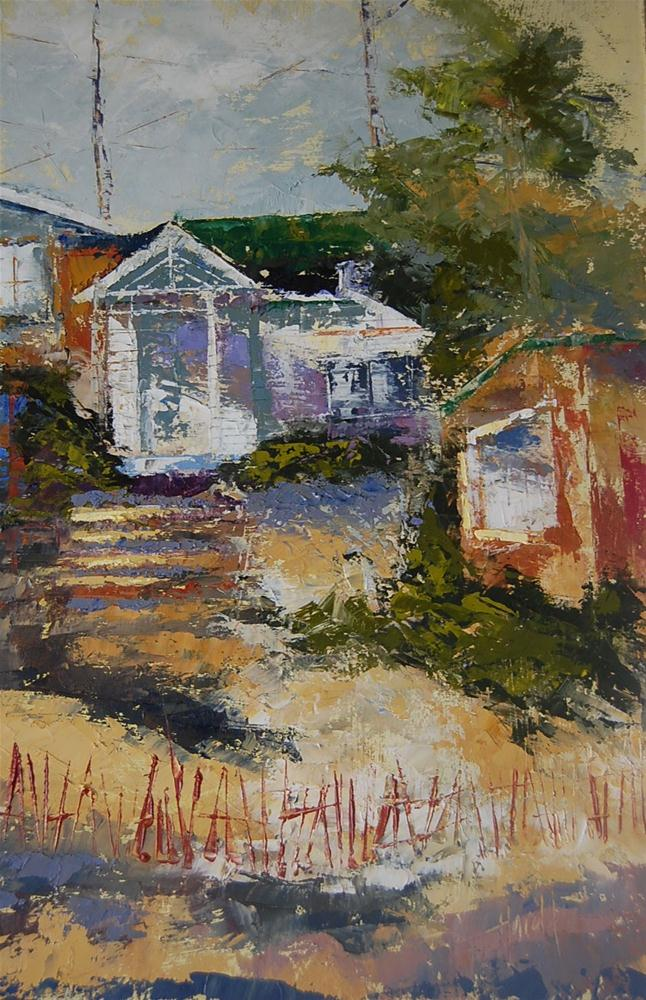 """Original Abstract Crystal Cove Cottages"" original fine art by Deborah Harold"