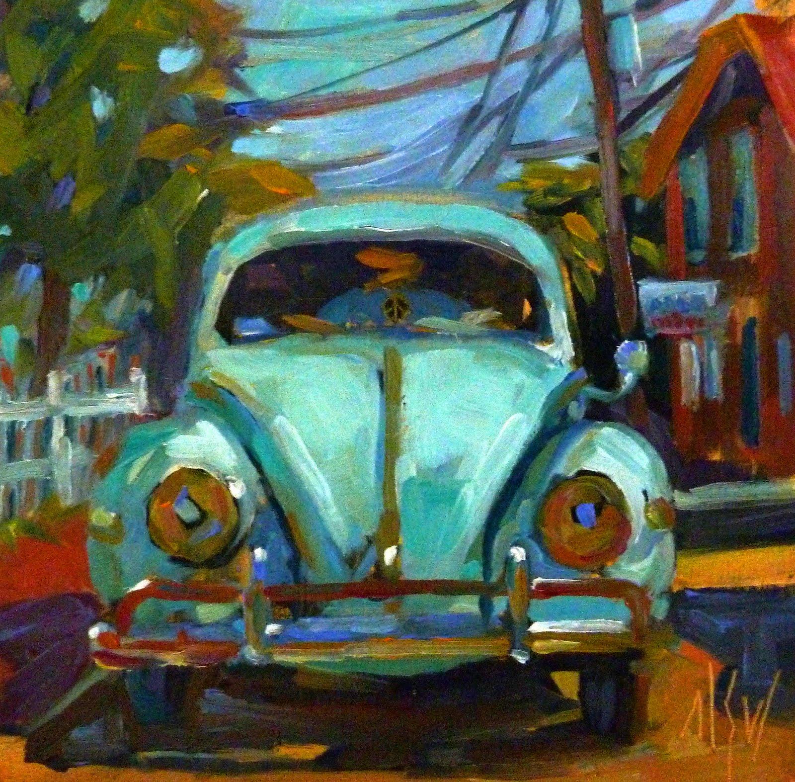 """That's Classic 6x6 oil on gessoboard Classic Volkwagen SOLD"" original fine art by Mary Sheehan Winn"