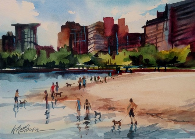 """Doggie Beach- Chicago"" original fine art by Kathy Los-Rathburn"