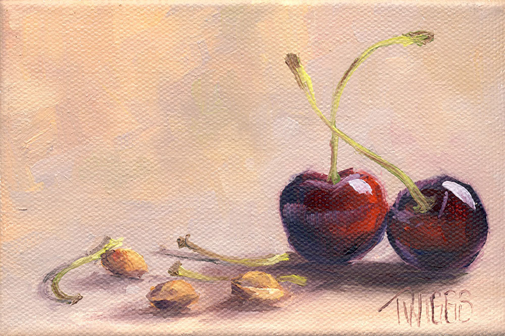 """Cherries 3"" original fine art by Lori Twiggs"
