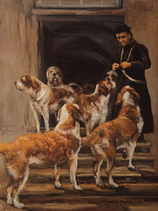 """Saint Bernard Dogs and Monk"" original fine art by Sue Deutscher"