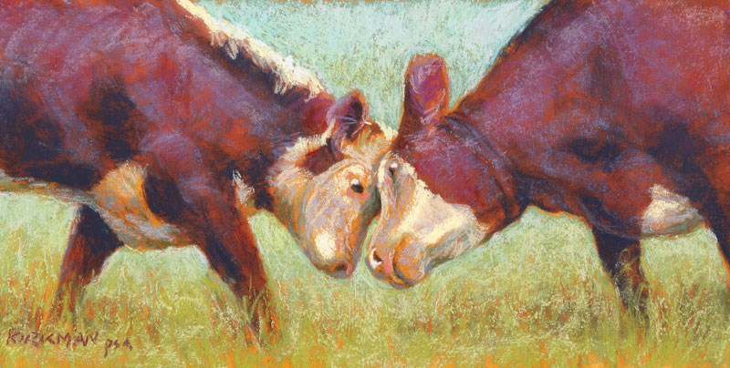 """Cowplay"" original fine art by Rita Kirkman"