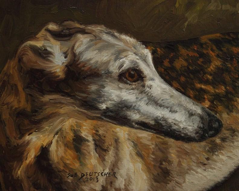 """""""Greyhound"""" original fine art by Sue Deutscher"""