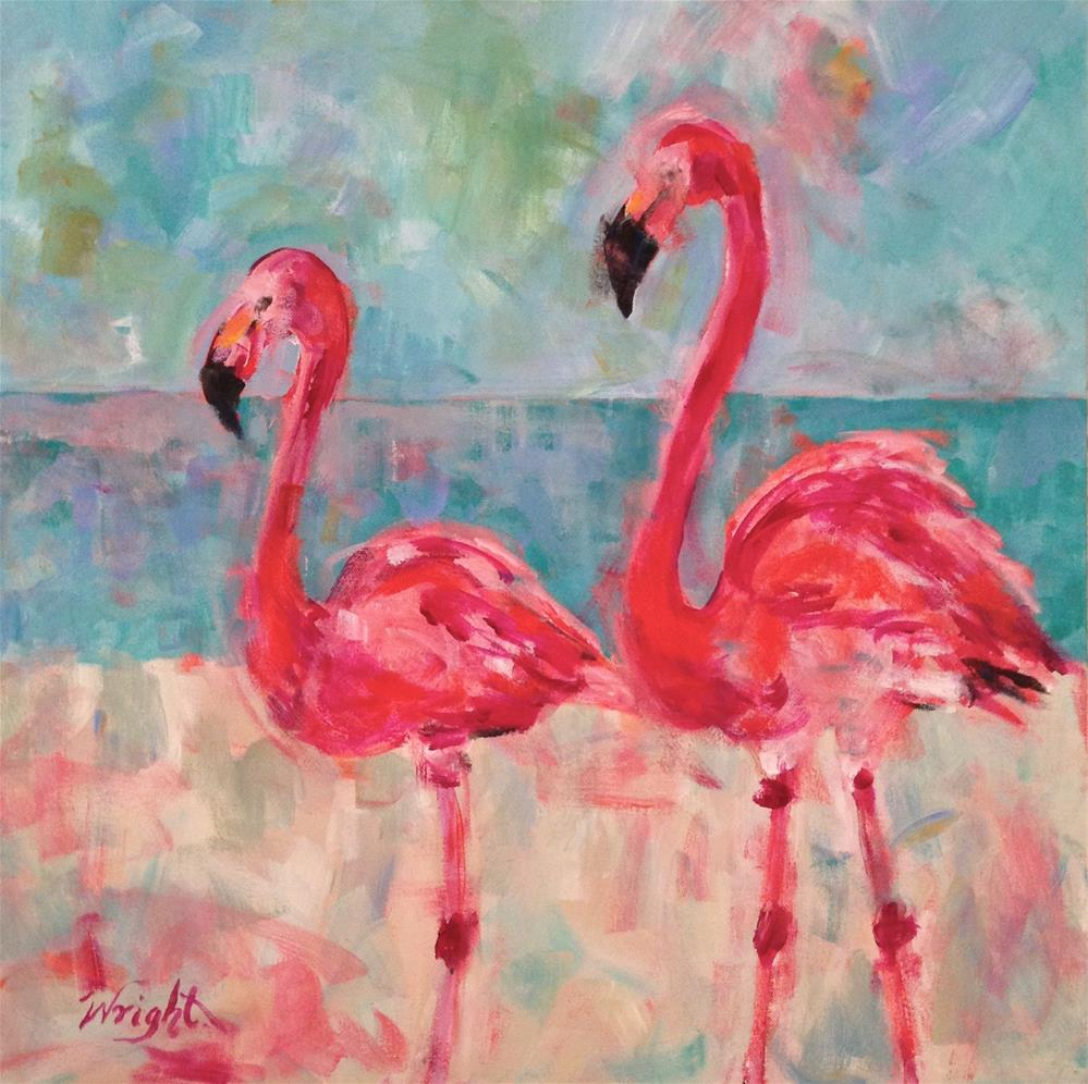 """Flamingo Pair"" original fine art by Molly Wright"