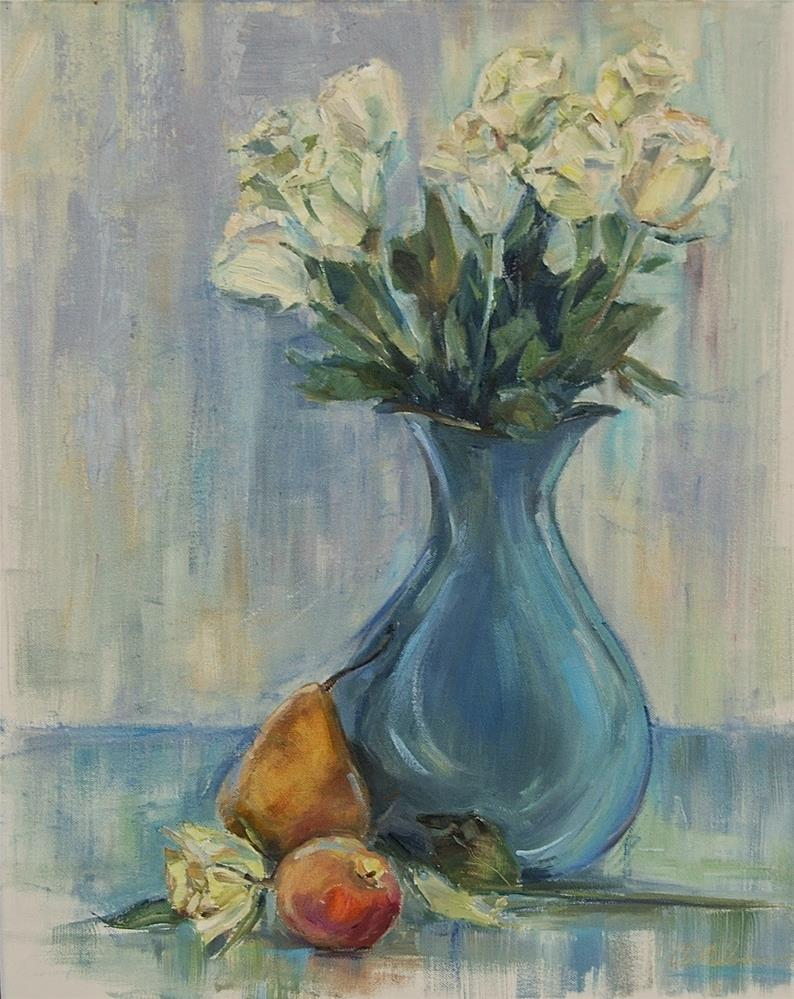 """White Roses, Still life Flower Arrangement, oil by Carol DeMumbrum"" original fine art by Carol DeMumbrum"