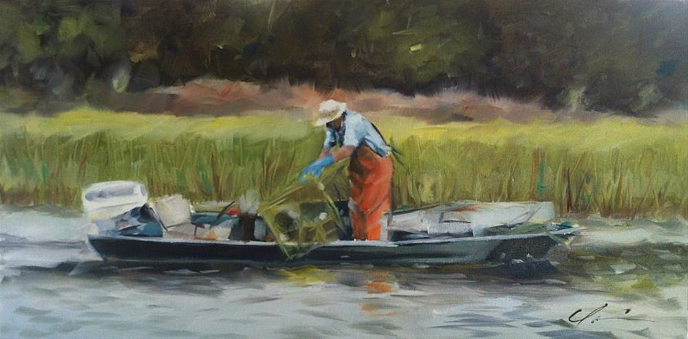 """Low Country Crabber"" original fine art by Clair Hartmann"