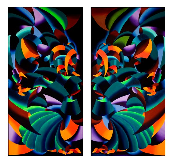 """Mark Webster Artist - The Gargoyles - Abstract Geometric Futurist Diptych"" original fine art by Mark Webster"