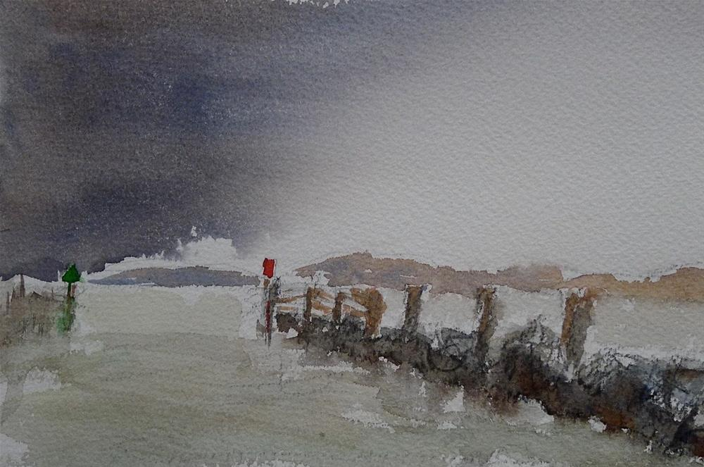 """Port entrance Lauterbach, Baltic Sea"" original fine art by Ulrike Schmidt"