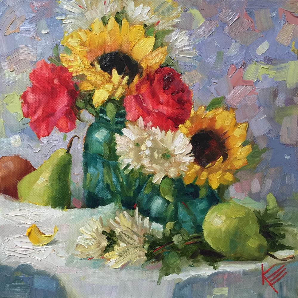 """Sunflowers & Pears"" original fine art by Krista Eaton"