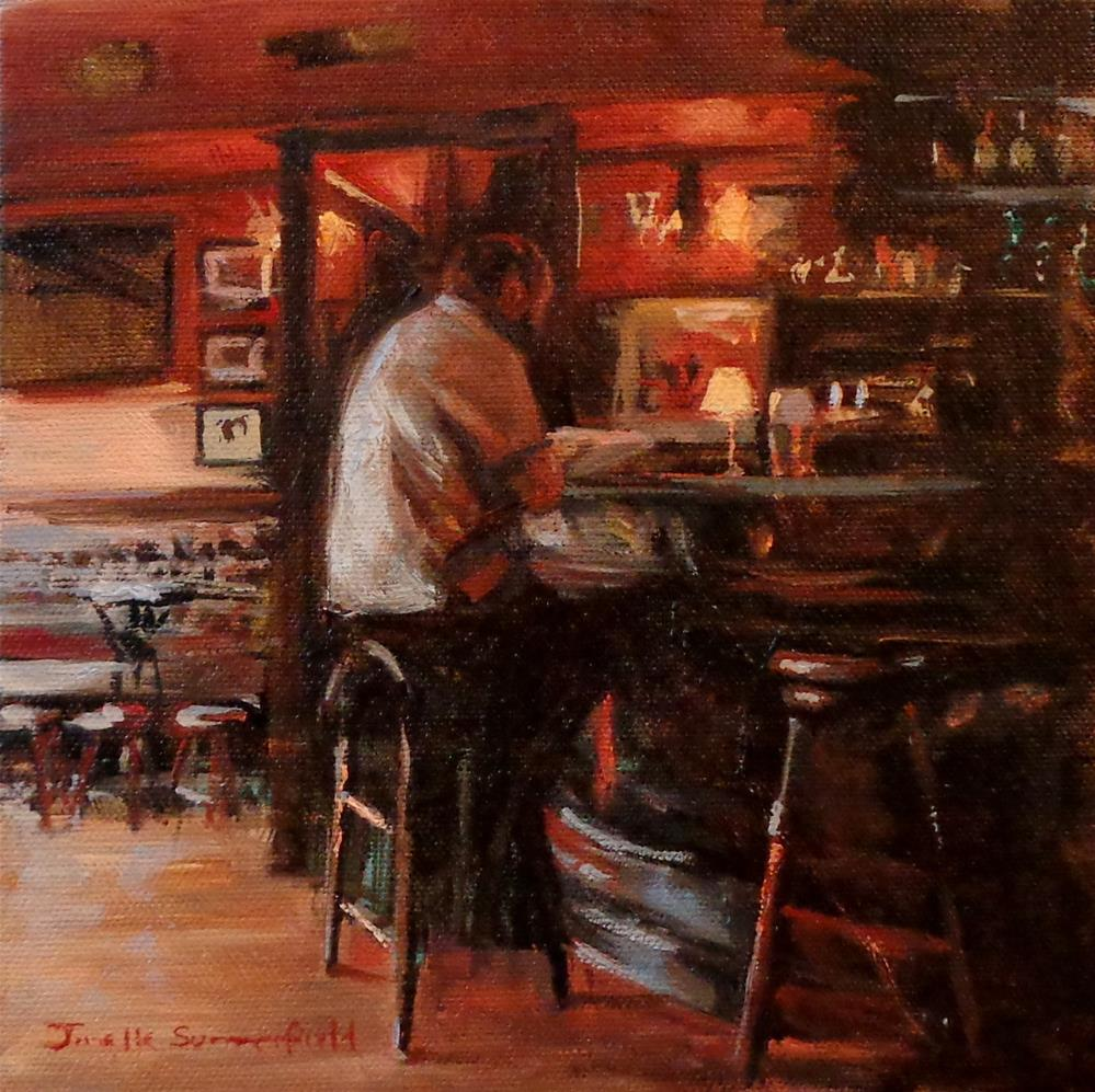 """Reading at the Pub II"" original fine art by Jonelle Summerfield"