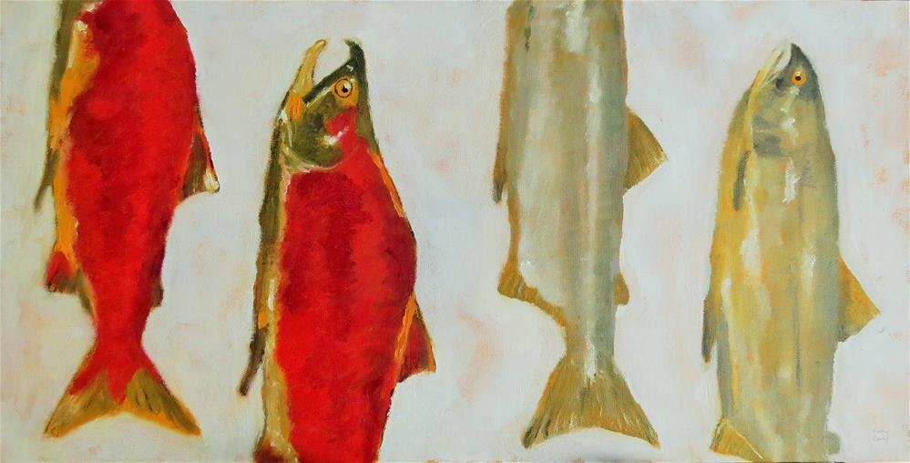 """salmon coming and going"" original fine art by Kathy Carey"