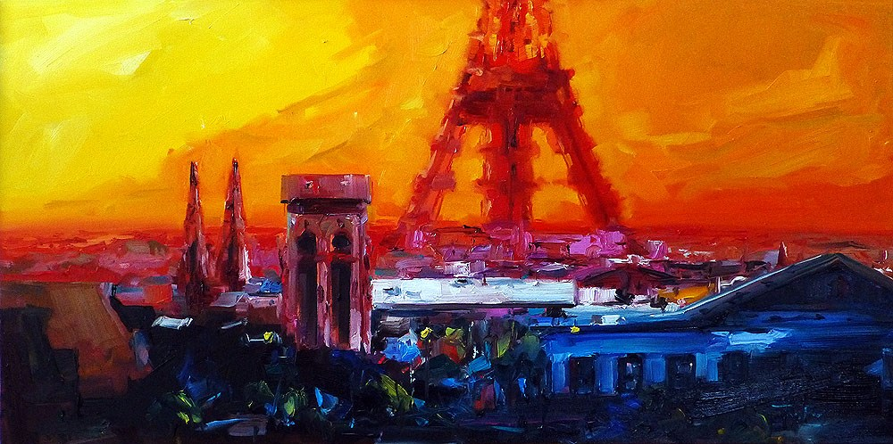 """Paris in Red"" original fine art by Jurij Frey"
