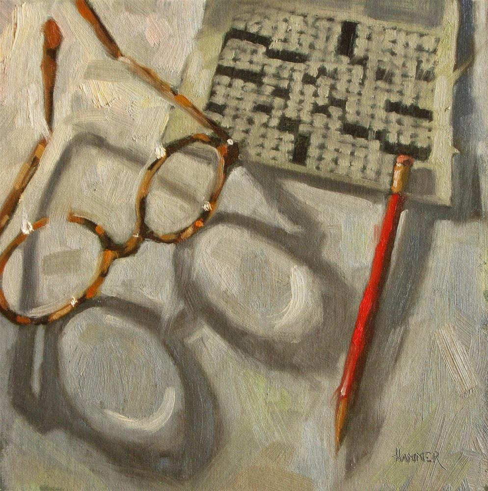 """Easy Crossword  8 x 8  oil"" original fine art by Claudia Hammer"