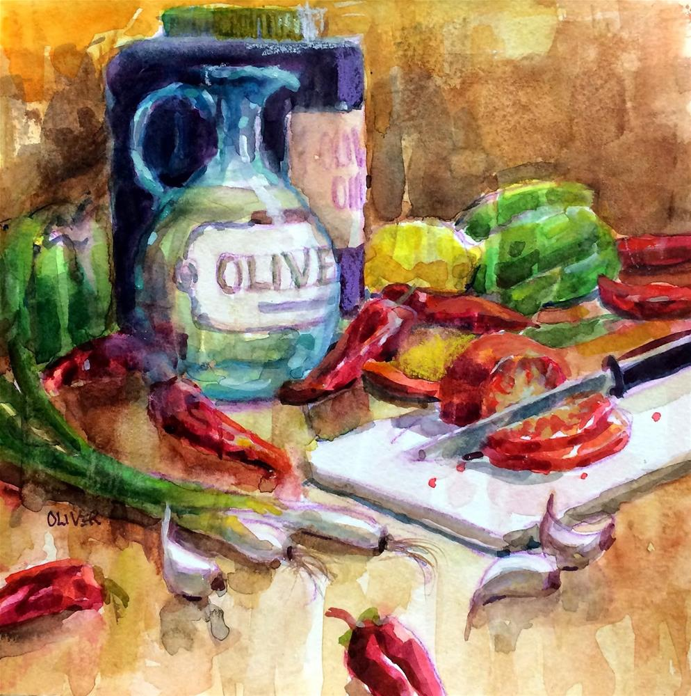 """Olive Oil #1"" original fine art by Julie Ford Oliver"