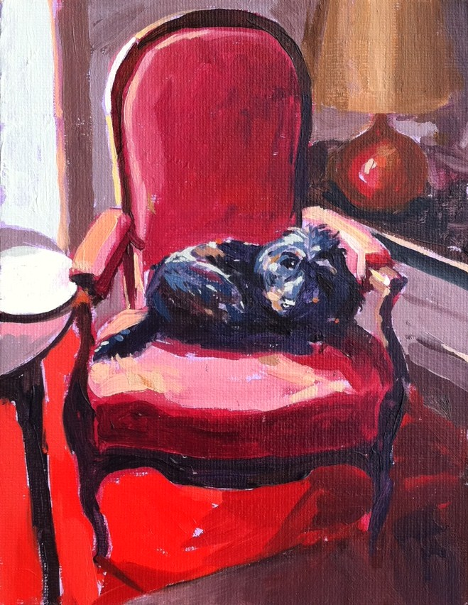 """Bonnie sur la chaise"" original fine art by Haidee-Jo Summers ROI"
