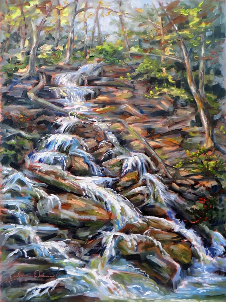 """""""Waterfall at the Nature Sanctuary"""" original fine art by Tammie Dickerson"""