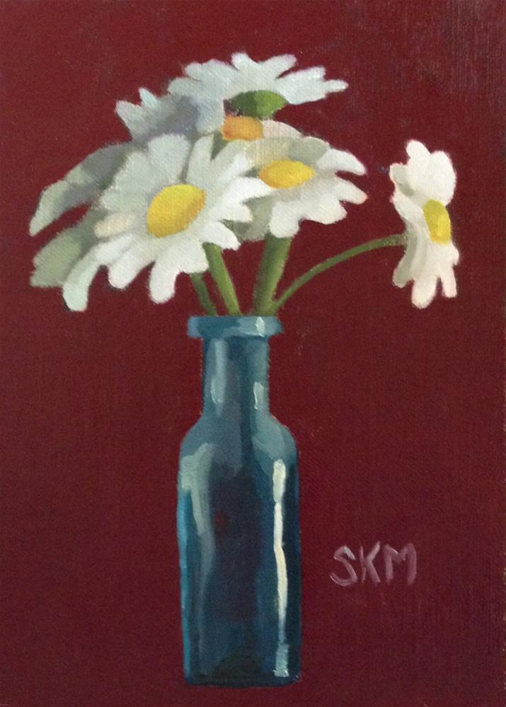 """Daisies in an antique bottle"" original fine art by Sarah Meredith"