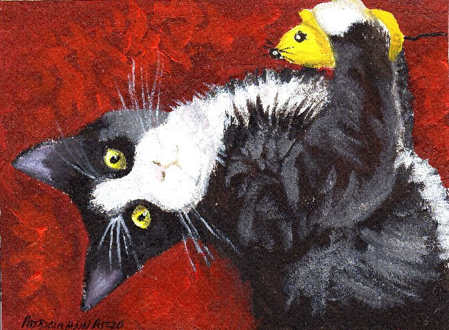 """Kitten with Toy Mouse"" original fine art by Patricia Ann Rizzo"