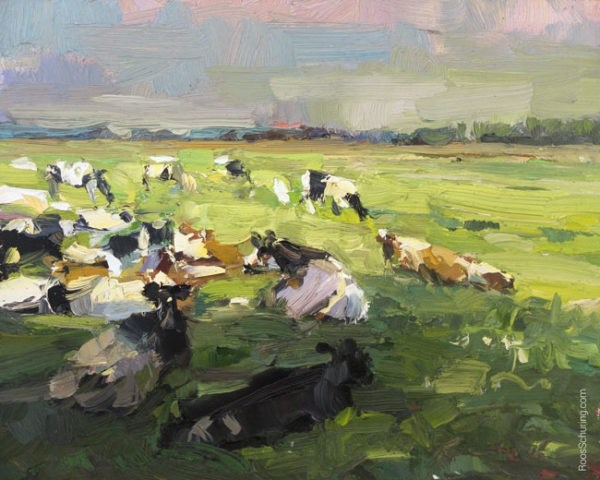 """Painting Cows in Summer"" original fine art by Roos Schuring"