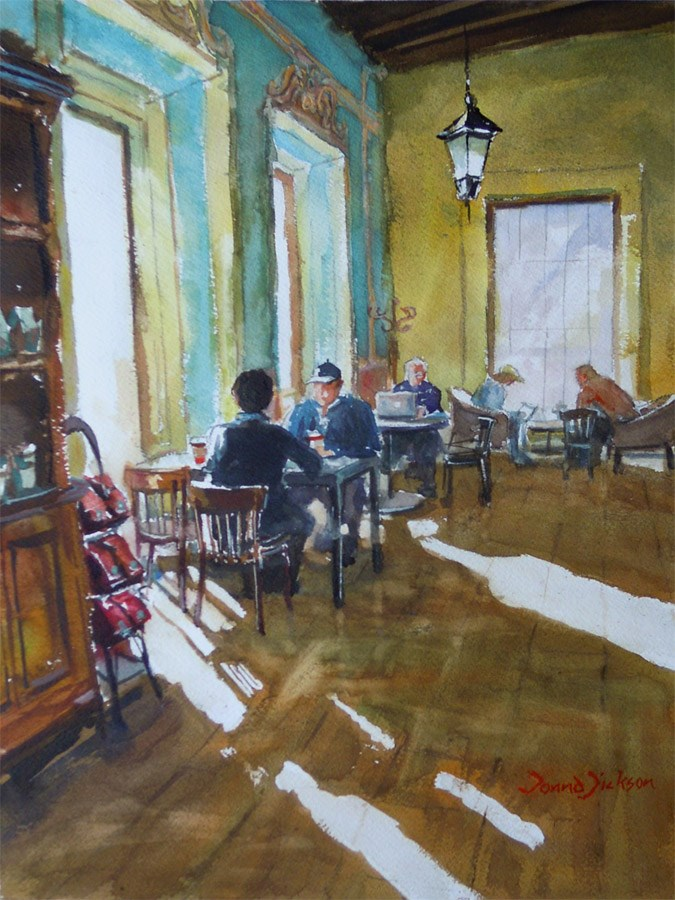 """Morning Cafe"" original fine art by Donna Dickson"