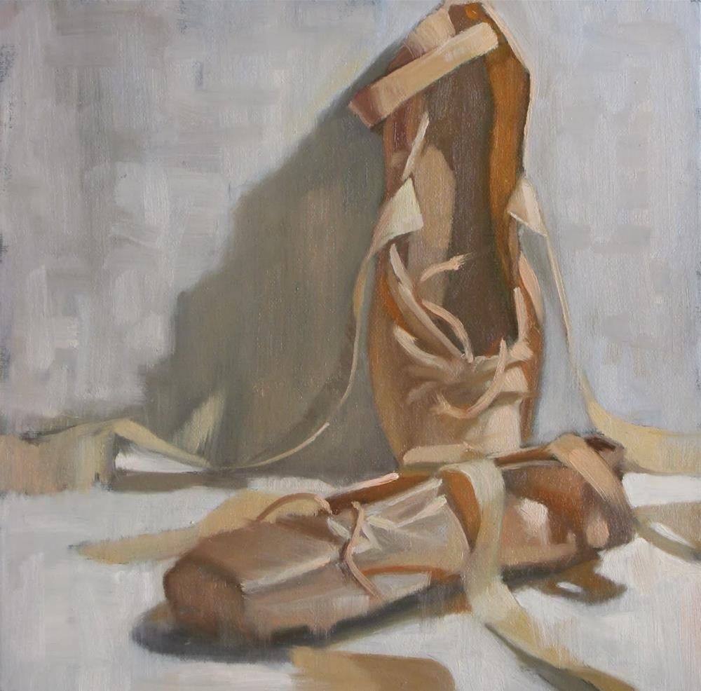 """""""Two ballet shoes 8x8 oil"""" original fine art by Claudia Hammer"""