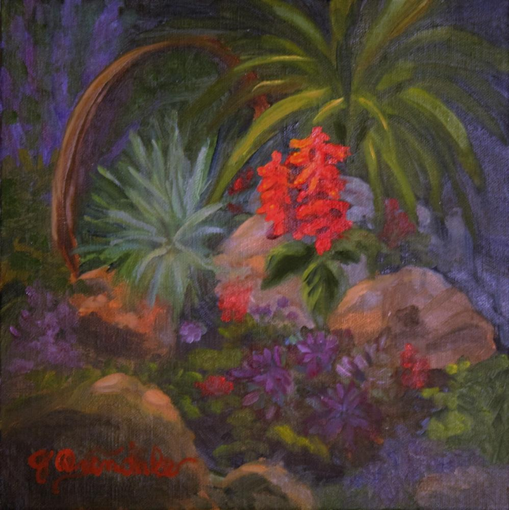 """Scarlet Salvia"" original fine art by Jan Oxendale"