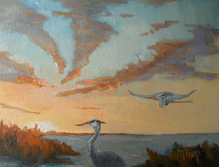 """Marsh Landscape with herons, Daily Painting, Small Oil Painting, 9x12x.75 Oil"" original fine art by Carol Schiff"
