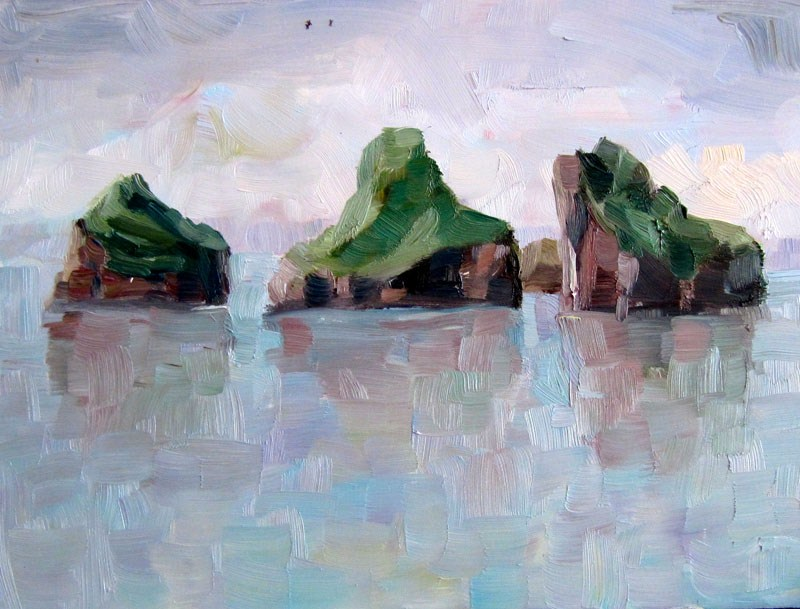 """Plain air in Vestmannaeyjar"" original fine art by Steinunn Einarsdottir"