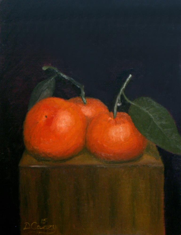 """""""30-in-30 Challenge – Day 04 – Tangerines on a Wooden Block"""" original fine art by Dave Casey"""