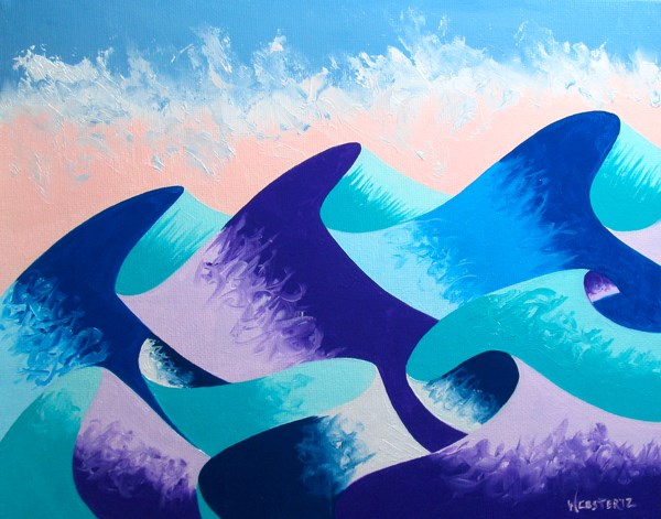 """Mark Adam Webster - Waves #4 - Abstract Geometric Ocean Landscape Oil Painting"" original fine art by Mark Webster"