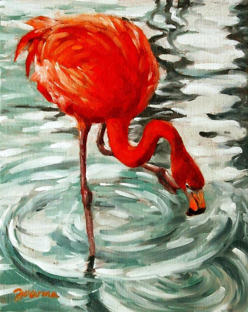 """Flamingo with Ripples"" original fine art by Joanna Bingham"