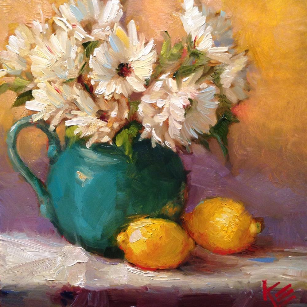 """Daisies & Lemons"" original fine art by Krista Eaton"