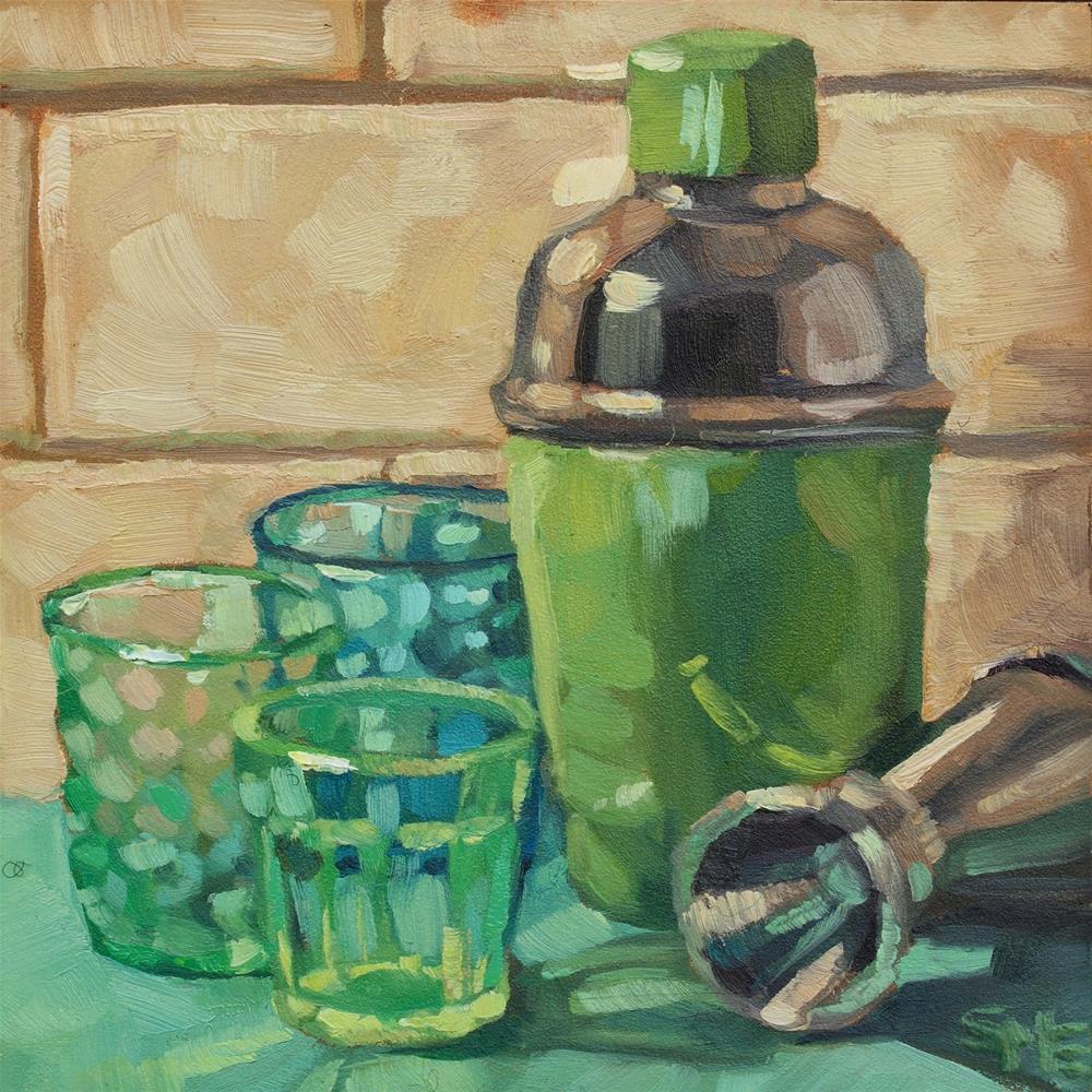 """Greentinis"" original fine art by Sheila Evans"