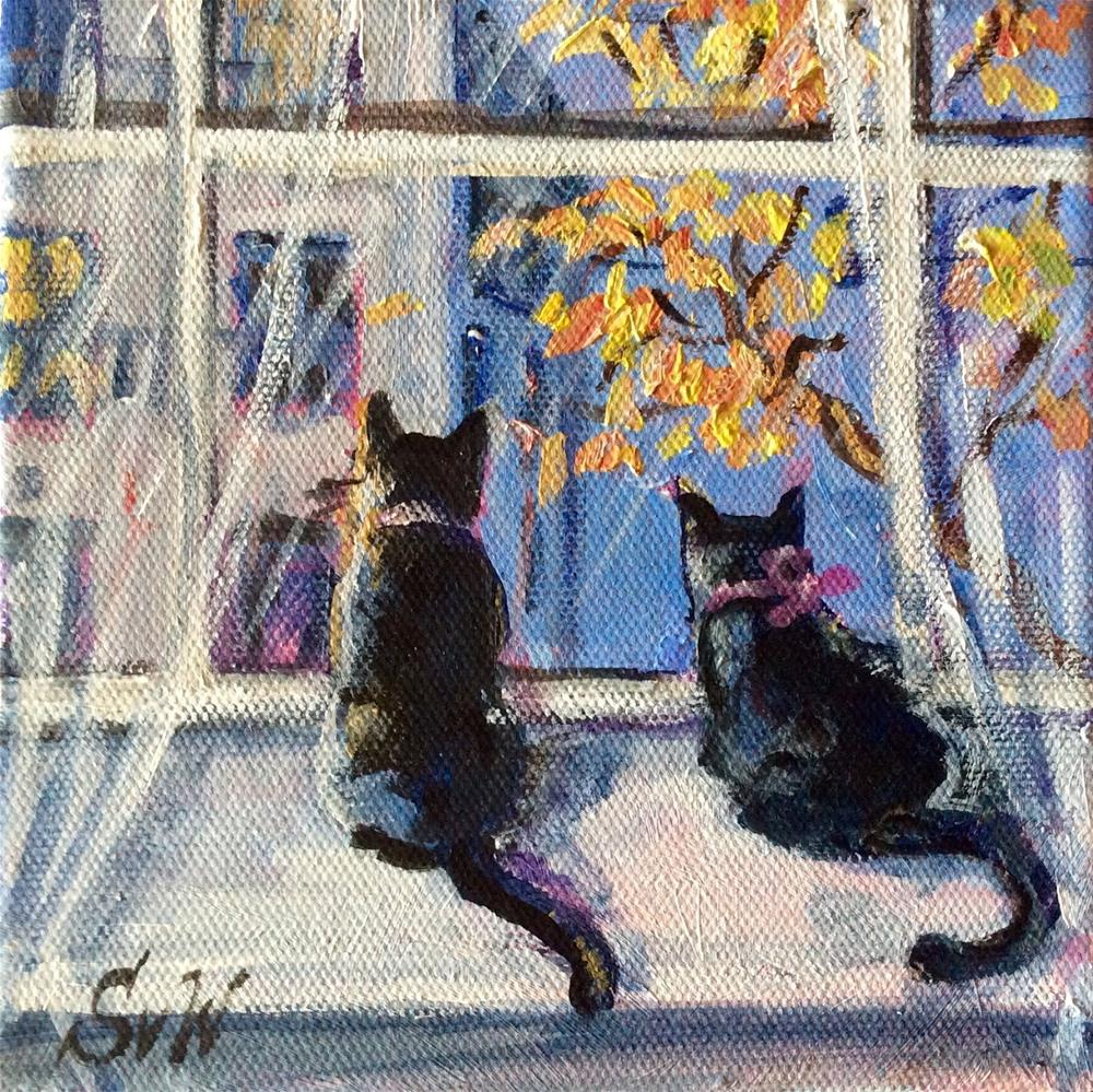 """Meow! Rain is almost over"" original fine art by Sonia von Walter"