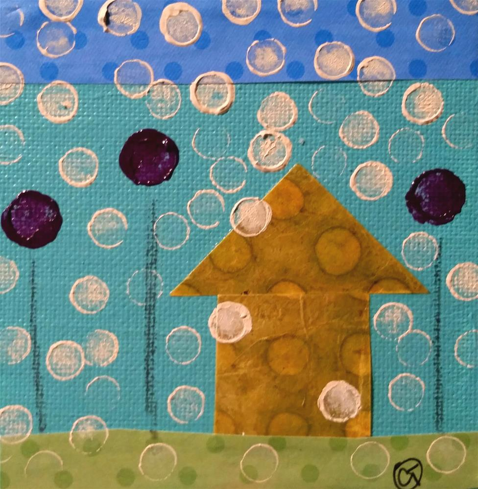 """Polka Dots 7 House #148"" original fine art by Christy Tremblay"