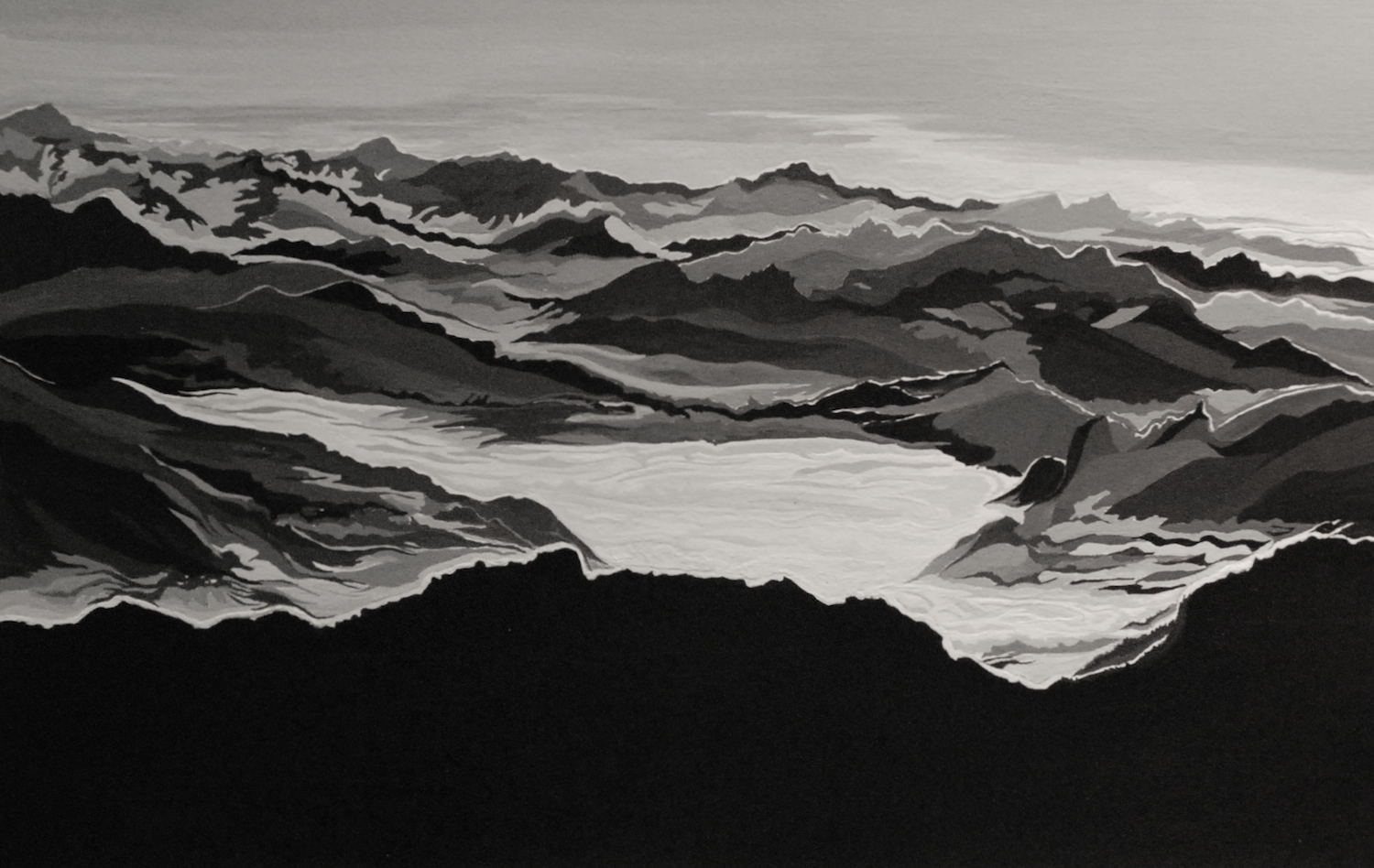 """Painting Mountains"" original fine art by Patti Adams"