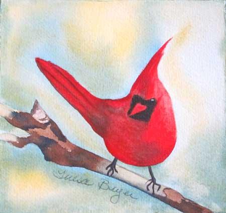 """Red Robin"" original fine art by Teresa Beyer"