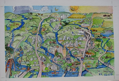 """Austin Watershed Project"" original fine art by V.... Vaughan"