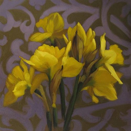 """Daffodils on Pattern II"" original fine art by Diane Hoeptner"