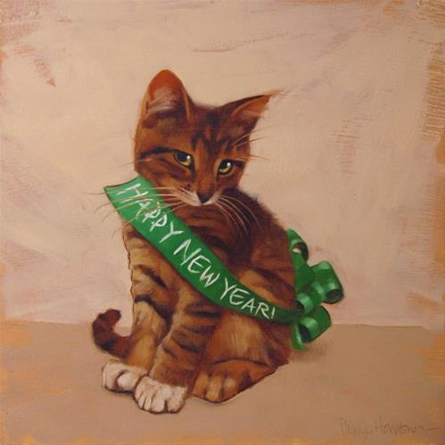 """""""Holiday Cats! New Year's Cat"""" original fine art by Diane Hoeptner"""