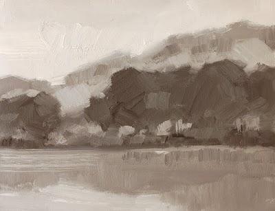 """""""Distant Shore Value Study"""" original fine art by Laurel Daniel"""