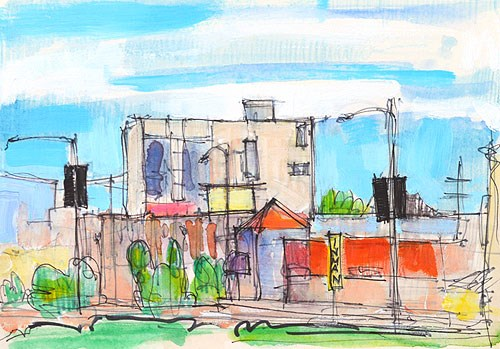 """Morning Coffee Uptown"" original fine art by Kevin Inman"