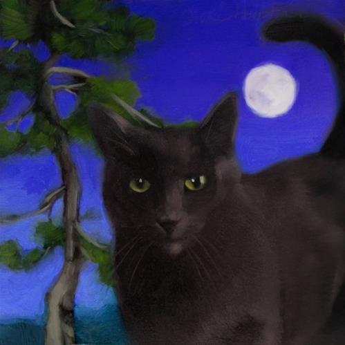 """Full Moon Coco cat painting by Hoeptner"" original fine art by Diane Hoeptner"