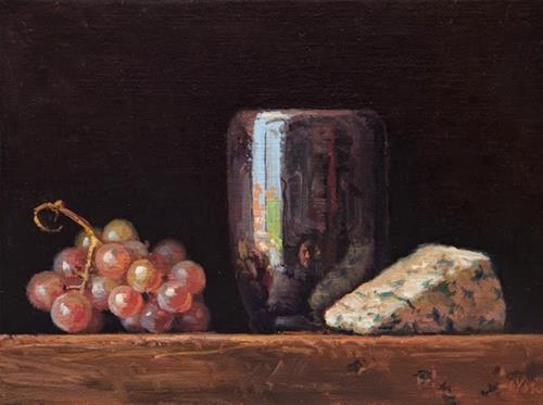"""Still Life with Moscato Grapes and Roquefort  (+ Sedona thoughts)"" original fine art by Abbey Ryan"