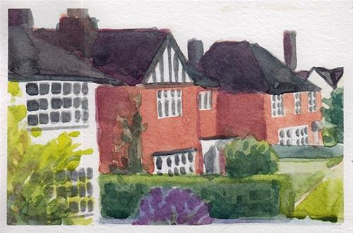 """Hertfordshire Houses"" original fine art by J M Needham"