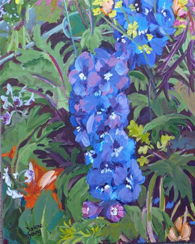 """Delphinium"" original fine art by Darlene Young"