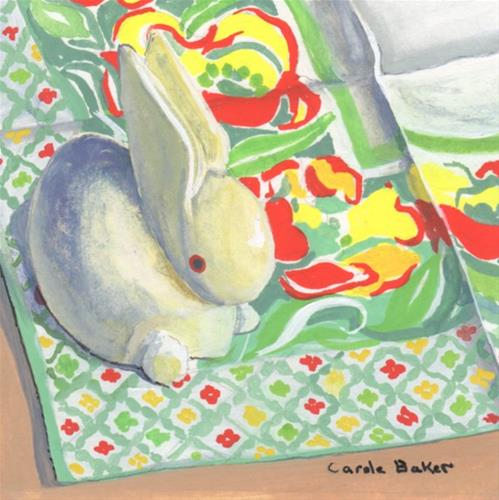 """White Rabbit"" original fine art by Carole Baker"