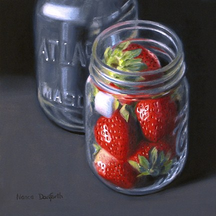 """Strawberries in Mason Jar"" original fine art by Nance Danforth"
