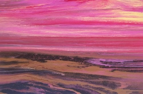 """Abstract Landscape,Sunset Art Painting Reflections of a Pink Sky by Colorado Contemporary Artist K"" original fine art by Kimberly Conrad"
