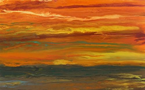 """Abstract Landscape,Sunset Art Painting Sky on Fire-Reflected by Colorado Contemporary Artist Kimbe"" original fine art by Kimberly Conrad"